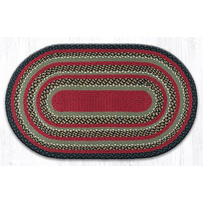 Burgundy/Olive/Charcoal Braided Area Rug Rug Size: Oval 23 x 39