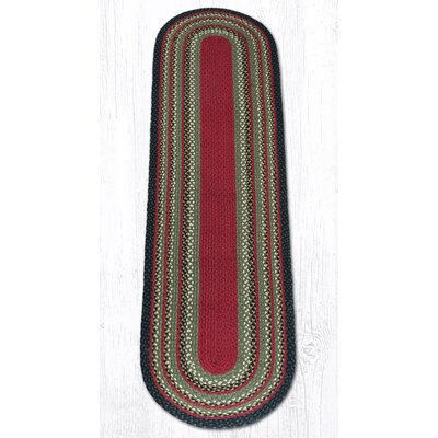 Burgundy/Olive/Charcoal Braided Area Rug Rug Size: Oval Runner 2 x 8
