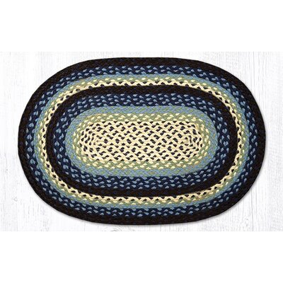 Blueberry/Creme Braided Area Rug Rug Size: Oval 18 x 26