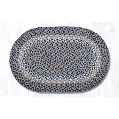 Blue/Natural Braided Area Rug Rug Size: Oval 18 x 26