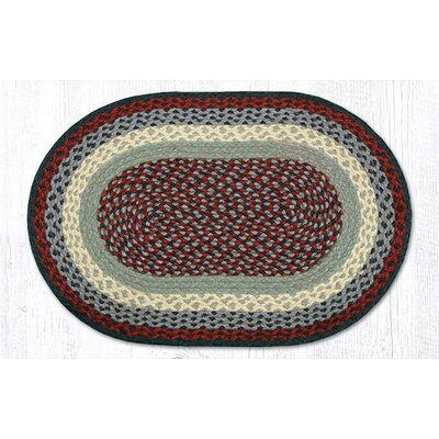 Blue/Burgundy Braided Area Rug Rug Size: Oval 18 x 26
