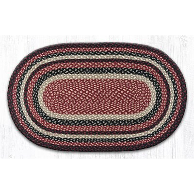 Burgundy/Black/Tan Braided Area Rug Rug Size: Oval 23 x 39