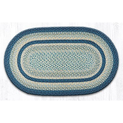 Breezy Blue/Taupe/Ivory Braided Area Rug Rug Size: Oval 23 x 39