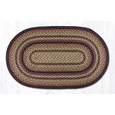 Black Cherry/Chocolate/Cream/Sage Green Braided Area Rug Rug Size: Oval 2'3