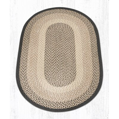 Chocolate/Natural Braided Area Rug Rug Size: Oval 3 x 5
