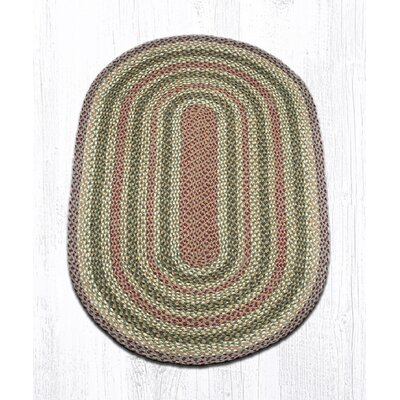 Olive/Burgundy/Gray Braided Area Rug Rug Size: Oval 3 x 5