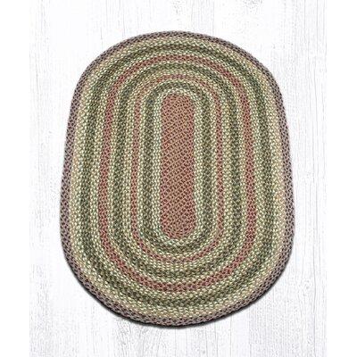 Olive/Burgundy/Gray Braided Area Rug Rug Size: Oval 3 x 5