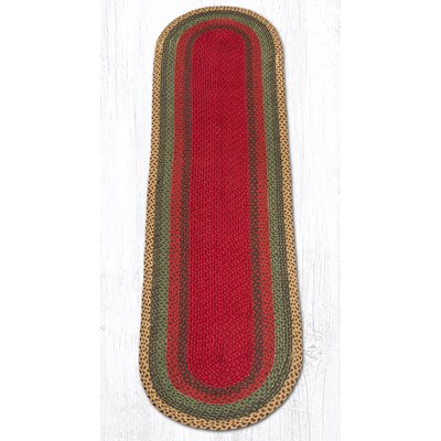 Burgundy/Green/Sunflower Braided Area Rug Rug Size: Oval Runner 2 x 8