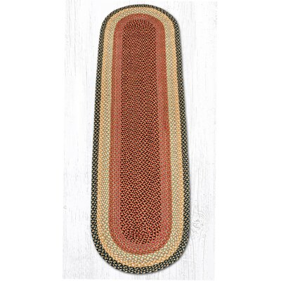 Burgundy/Gray/Cr�me Braided Area Rug Rug Size: Oval Runner 2 x 8