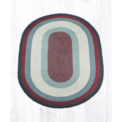 Blue/Burgundy Braided Area Rug Rug Size: Oval 4 x 6