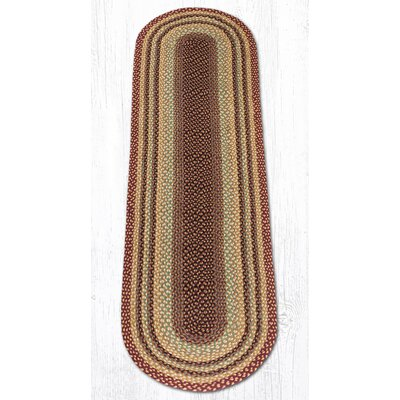 Burgundy/Gray/Cr�me Braided Area Rug Rug Size: Oval Runner 2' x 8'