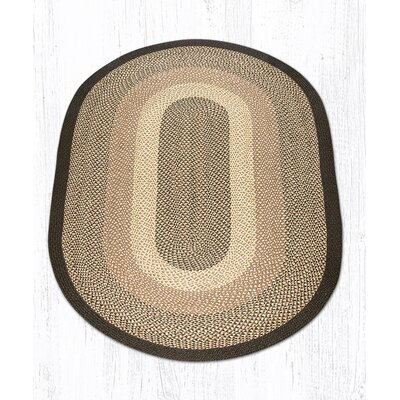 Chocolate/Natural Braided Area Rug Rug Size: Oval 5 x 8