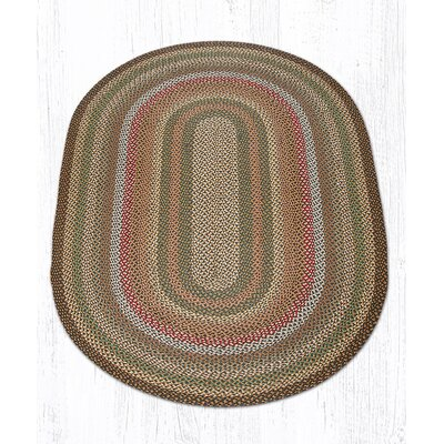 Fir/Ivory Braided Area Rug Rug Size: Oval 5 x 8