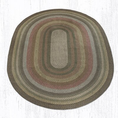 Fir/Ivory Braided Area Rug Rug Size: Oval 8 x 11