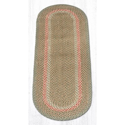 Green/Burgundy Braided Area Rug Rug Size: Oval Runner 2 x 6