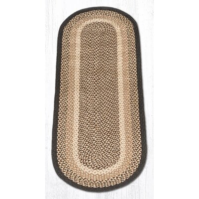 Chocolate/Natural Braided Area Rug Rug Size: Oval Runner 2 x 6