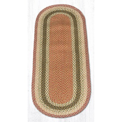Olive/Burgundy/Gray Braided Area Rug Rug Size: Oval Runner 2 x 6