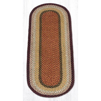 Burgundy/Mustard Braided Area Rug Rug Size: Oval Runner 2 x 6