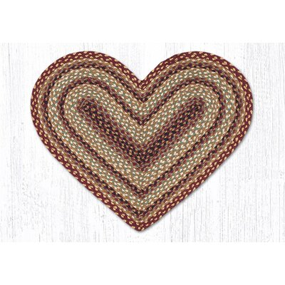 Burgundy/Gray/Cr�me Braided Area Rug Rug Size: Slice 18 x 26