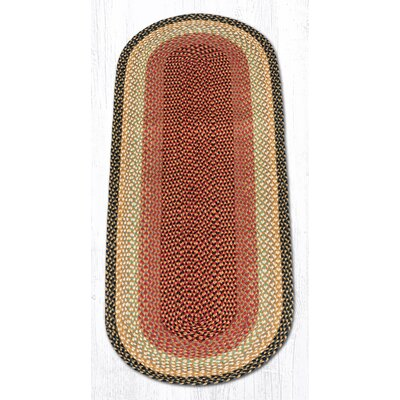 Burgundy/Gray/Cr�me Braided Area Rug Rug Size: Oval Runner 2 x 6