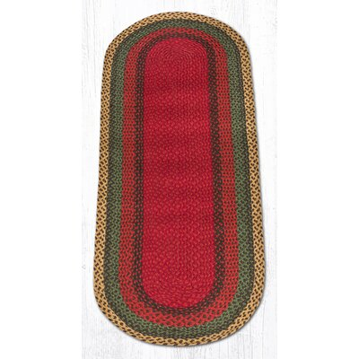 Burgundy/Green/Sunflower Braided Area Rug Rug Size: Oval Runner 2 x 6