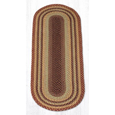 Burgundy/Gray/Cr�me Braided Area Rug Rug Size: Oval Runner 2' x 6'