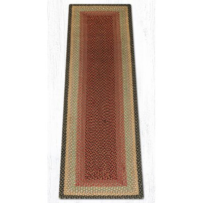 Burgundy/Gray/Cr�me Braided Area Rug Rug Size: Runner 2 x 8