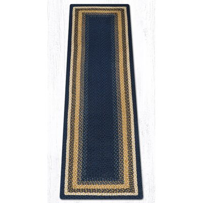 Light Blue/Dark Blue/Mustard Braided Area Rug Rug Size: Runner 2 x 8