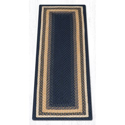 Light Blue/Dark Blue/Mustard Braided Area Rug Rug Size: Runner 2 x 6