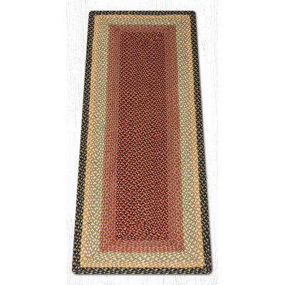 Burgundy/Gray/Cr�me Braided Area Rug Rug Size: Runner 2 x 6
