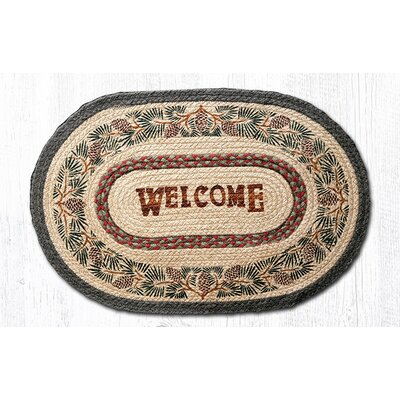 Pinecone Welcome Printed Area Rug Rug Size: Oval 18 x 26
