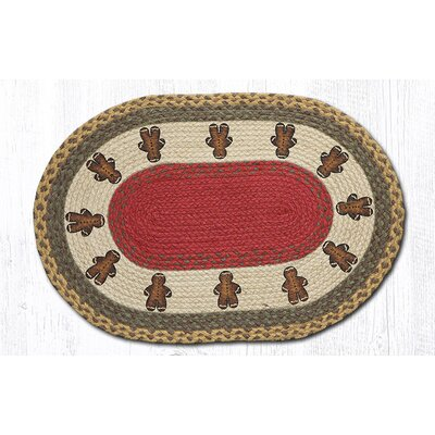 Gingerbread Men Printed Area Rug Rug Size: Oval 18 x 26