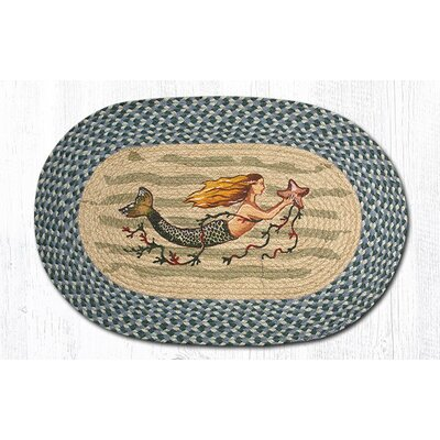 Mermaid Printed Area Rug Rug Size: Oval 18 x 26