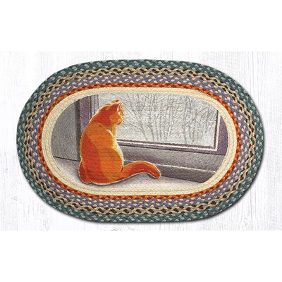 Window Cat Printed Area Rug Rug Size: Oval 18 x 26