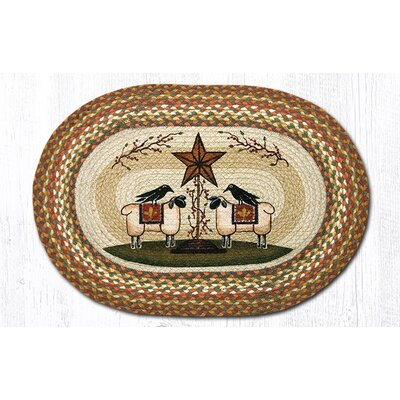 Sheep & Barn Star Printed Area Rug Rug Size: Oval 18 x 26