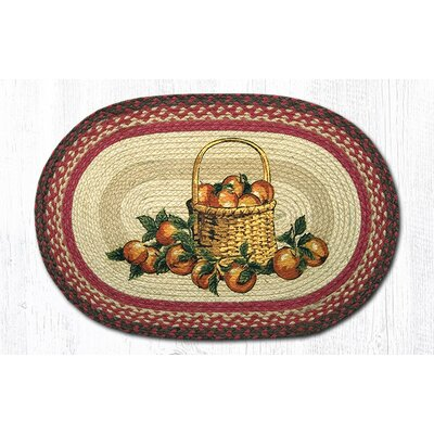 Apple Basket Printed Area Rug Rug Size: Oval 18 x 26