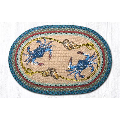 Blue Crab Printed Area Rug Rug Size: Oval 18 x 26