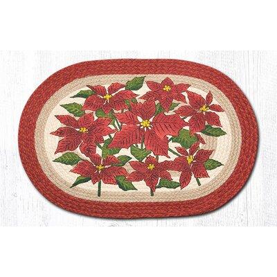 Poinsettia Printed Area Rug Rug Size: Oval 18 x 26