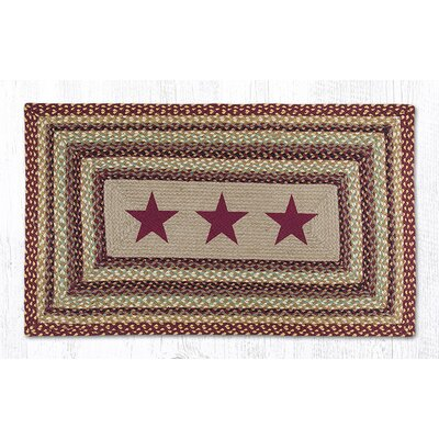 Burgundy Stars Printed Area Rug Rug Size: Rectangle 23 x 39