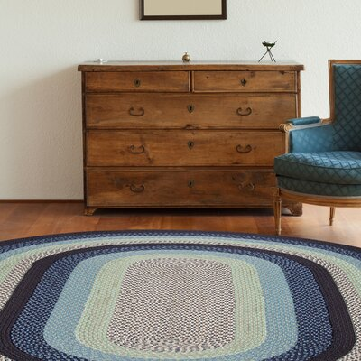 Blueberry/Creme Braided Area Rug Rug Size: Oval Runner 2 x 6