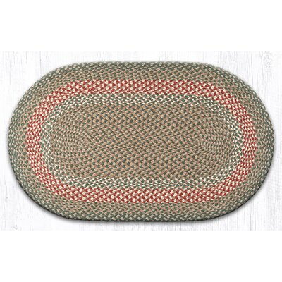 Green/Burgundy Braided Area Rug Rug Size: Oval 23 x 39