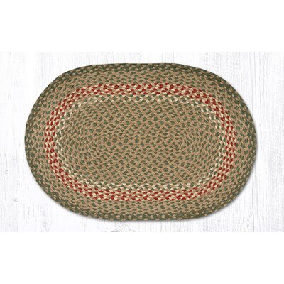 Green/Burgundy Braided Area Rug Rug Size: Oval 18 x 26
