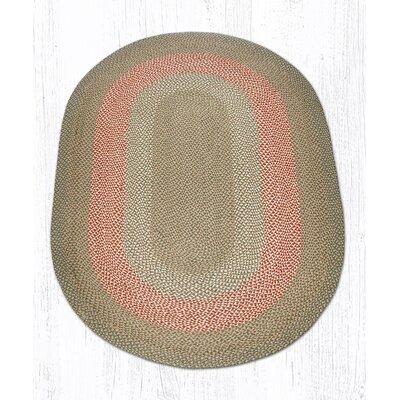 Green/Burgundy Braided Area Rug Rug Size: Oval 5 x 8