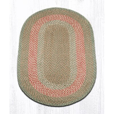 Green/Burgundy Braided Area Rug Rug Size: Oval 3 x 5
