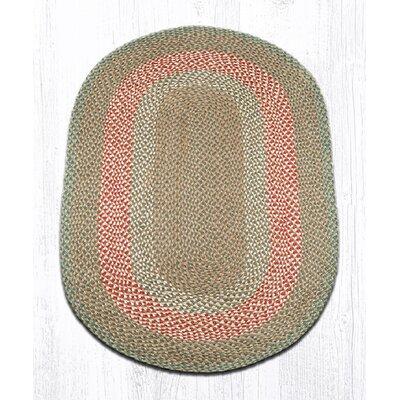 Green/Burgundy Braided Area Rug Rug Size: Oval 3 x 5