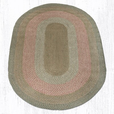 Green/Burgundy Braided Area Rug Rug Size: Oval 6 x 9