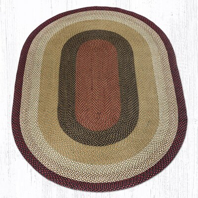 Burgundy/Mustard Braided Area Rug Rug Size: Oval 6 x 9