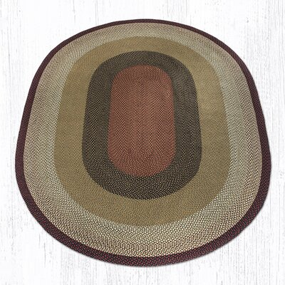 Burgundy/Mustard Braided Area Rug Rug Size: Oval 8 x 11