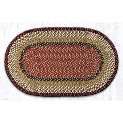 Burgundy/Mustard Braided Area Rug Rug Size: Oval 23 x 39