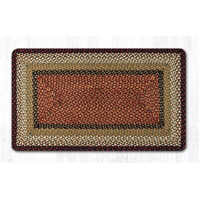 Burgundy/Mustard Braided Area Rug Rug Size: Rectangle 23 x 39